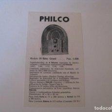 Radios antiguas: FOLLETO DE PUBLICIDAD DE RADIO PHILCO MODELO 18 BABY GRAND. AÑOS 30.. Lote 144621382