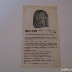 Radios antiguas: FOLLETO DE PUBLICIDAD DE RADIO PHILCO MODELO 44 BABY GRAND. AÑOS 30.. Lote 144621594