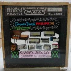 Radios antiguas: PHILIPS DIAPOSITIVA CRISTAL PUBLICIDAD PARA EL CINE .RADIOS Y TOCADISCOS 1963. BELLA CALAHORRA.. Lote 144892134