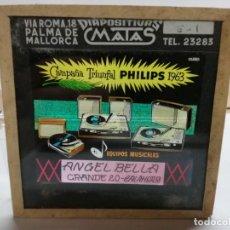 Radios antiguas: PHILIPS DIAPOSITIVA CRISTAL PUBLICIDAD PARA EL CINE EQUIPOS MUSICALES 1963. BELLA CALAHORRA. Lote 144892354