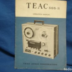 Radios antiguas: -TEAC 505 - R OPERATION MANUAL. Lote 145011506