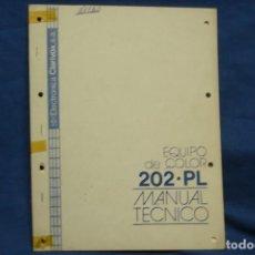 Radios antiguas: -EQUIPO DE COLOR 202-PL - MANUAL TÉCNICO - ELECTRÓNICA CLARIVOX. Lote 145541398