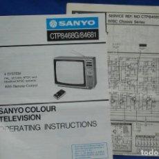 Radios antiguas: TELEVISIÓN COLOR SANYO CTP8468 - MANUAL DE INSTRUCCIONES Y ESQUEMA. Lote 145543206