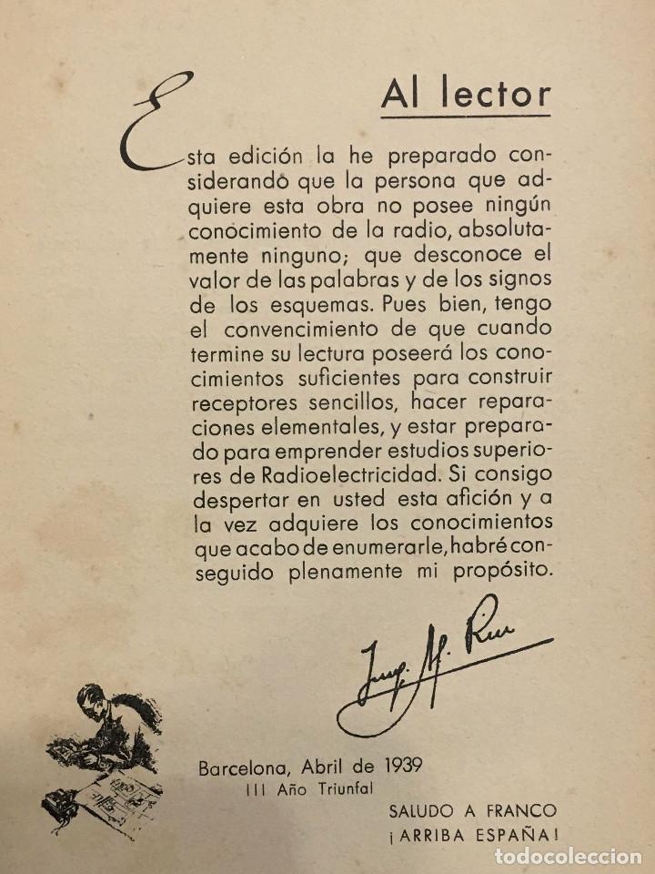 Radios antiguas: Guía práctica de radio por el Ingeniero Agustín Riu de Ed. Sintes en Barcelona 1939 (firmado) - Foto 5 - 149894854