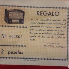 Radios antiguas: PHILIPS RIFA 1951 GRAFICAS AURORA LUGO. Lote 151012342