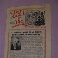 Radios antiguas: FOLLETO CATALOGO DE PUNTOS DE INSTITUTO DE RADIO. LOS ÁNGELES. E.E.U.U. 1940.. Lote 152972466