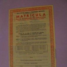 Radios antiguas: FOLLETO CON LA MATRICULA DE INSTITUTO DE RADIO Y TELEVISIÓN. LOS ÁNGELES. E.E.U.U. 1955.. Lote 152973246
