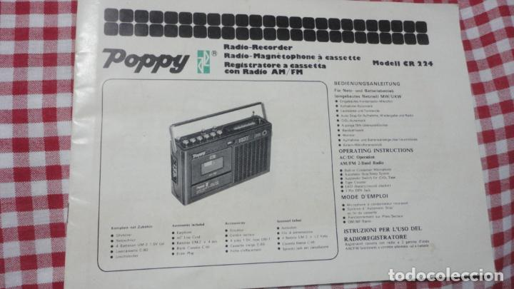 Radios antiguas: MANUAL INSTRUCCIONES.RADIO RECORDER.RADIO CASSETTE.CASSETE.POPPY.MODELO CR224.AM-FM - Foto 1 - 153742730