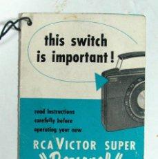 """Radios antiguas: ANTIGUA PUBLICIDAD RADIO RCA VICTOR SUPER """"PERSONAL"""". Lote 155581046"""