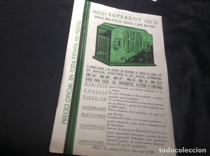 FOLLETO RADIO CROSLEY SUPERBOY (Radios, Gramófonos, Grabadoras y Otros - Catálogos, Publicidad y Libros de Radio)