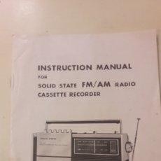 Radios antiguas: RADIOCASSETE CATALOGO 117/220 VOLT SWITCHABLE CASSETE RADIO SOLD STATE. Lote 158364025