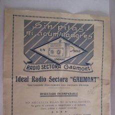 Radios antiguas: RADIO SECTORA GAUMONT - RADIO CAMPING - FOLLETO PUBLICITARIO - 27X21. Lote 162097246