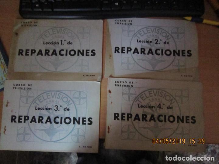 RADIO MAYMO, LECCIONES 1,2,3,4. REPARACIONES TELEVISIÓN. (Radios, Gramófonos, Grabadoras y Otros - Catálogos, Publicidad y Libros de Radio)
