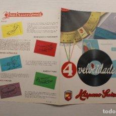Radios antiguas: MELODIAL TOCADISCOS SUPER FONO, 4 VELOCIDADES, HISPANO SUIZA, DÍPTICO. Lote 162912614