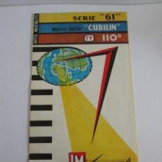 Radios antiguas: METRO RADIO - PUBLICIDAD RADIOS SERIE 61 - CUBILIN - TV 110º - HOJA EN 4 PARTES 21X11. Lote 165102850