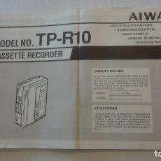 Radios antiguas: FOLLETO INSTRUCCIONES.CASSETTE RECORDER.AIWA TP-R10 JAPAN. Lote 165894042