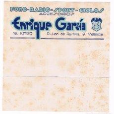 Radios antiguas: PUBLICIDAD ANTIGUA FONO-RADIO-SPORT-CICLOS ACCESORIOS - ENRIQUE GARCIA - VALENCIA - AÑOS 30. Lote 167984468
