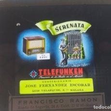 Radios antiguas: CRISTAL PUBLCIDAD MALAGA PARA PROYECTAR DESCANSOS CINES, RADIO TELEFUNKEN MODELO SERENATA, AÑOS 50, . Lote 169830772