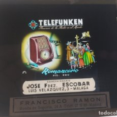Radios antiguas: CRISTAL PUBLCIDAD MALAGA PARA PROYECTAR DESCANSOS CINES, TELEFUNKEN MODELO ROMANCERO, AÑOS 50, . Lote 169830916