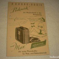 Radios antiguas: AKKORD RADIO , PICKNICK, PUBLICIDAD DE RADIO TOCADISCOS EN ALEMAN.. Lote 171523455