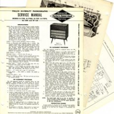 Radios antiguas: DETALLES DE PHILCO - G-1706 - G-1707S - SA-1500 AND RT-150 - SERVICE MANUAL ORIGINAL PAPER . Lote 172232423