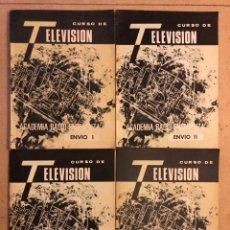 Radios antiguas: LOTE DE 4 VOLÚMENES DE CURSO DE TELEVISIÓN ACADEMIA DE RADIO ENSEÑANZA 1964. Lote 172800749