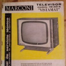 Radios antiguas: MANUAL DE SERVICIO TECNICO - MARCONI - TELEVISOR VISTAMAT - MODELO TM-491-S - 1965. Lote 172983532