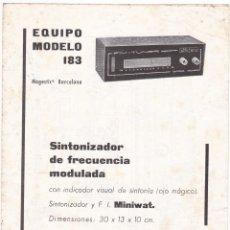 Radio antiche: RADIO PUJALS - EQUIPO MODELO 183 - ESQUEMA CHASIS SUPERIOR E INTERIOR - CIRCUITO ADAPTADOR. Lote 173581507