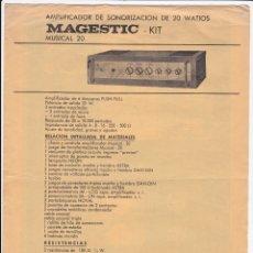 Radios antiguas: RADIO PUJALS - AMPLIFICADOR SONORIZACION 20 WATIOS - MAGESTIC MUSICAL 20 - 3 ENTRADAS MEZCLADAS. Lote 173586134
