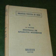 Radios antiguas: ESQUEMAS DE APARATOS MODERNOS, DE ALFONSO LAGOMA - BIBL.PRACTICA DE RADIO X - BRUGUER 1962 3A.ED.. Lote 174012599