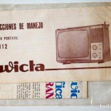 Radios antiguas: INSTRUCCIONES DE MANEJO DEL TELEVISOR PORTÁTIL TP-1112. INVICTA. Lote 174317207