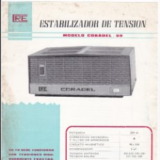 Radios antiguas: ESTABILIZADOR PARA TELEVISOR - CORADEL MODELO 69 - CARACTERISTICAS TECNICAS. Lote 176190787