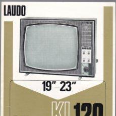 Radios antiguas: LAUDO SELECT KL-120 - TELEVISOR 19 - 23 - CARACTERISTICAS. Lote 176191998