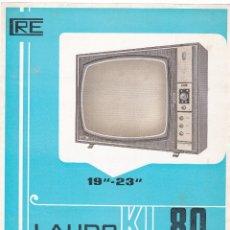 Radios antiguas: LAUDO KL-80 - TELEVISOR 19 - 23 - CRE - CARACTERISTICAS. Lote 176192138
