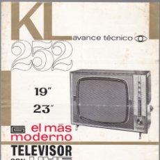 Rádios antigos: TELEVISOR UHF - KL-252 - RADIO WATT - CARACTERISTICAS. Lote 176193238