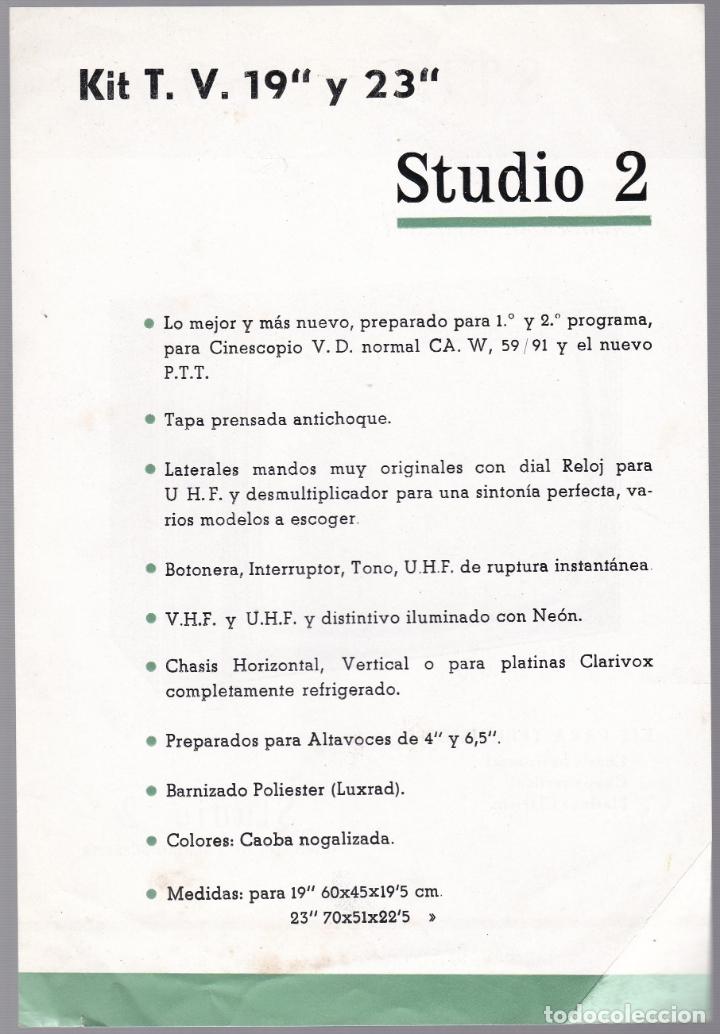 Radios antiguas: STUDIO 69 - KIT TELEVISON - STUDIO 2 - CARACTERISTICAS - Foto 2 - 176198360