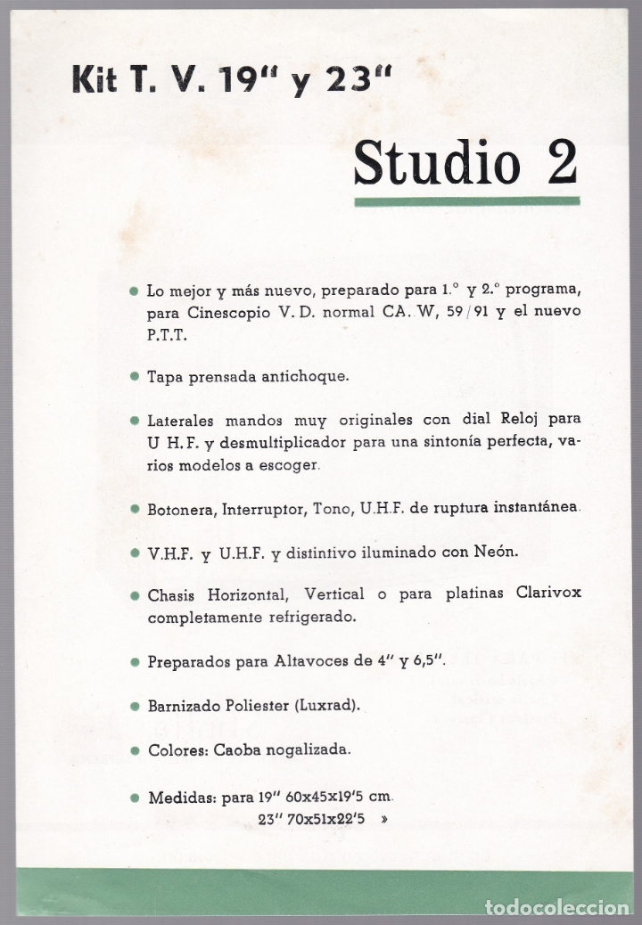 Radios antiguas: STUDIO 69 - KIT TELEVISON - STUDIO 2 - CARACTERISTICAS - Foto 2 - 176198388