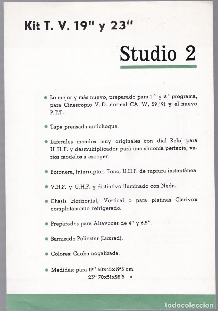 Radios antiguas: STUDIO 69 - KIT TELEVISON - STUDIO 2 - CARACTERISTICAS - Foto 2 - 176198447