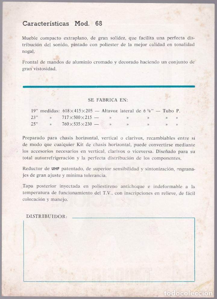 Radios antiguas: TELEVISOR MODELO 68 - CARACTERISTICAS - Foto 2 - 176198585
