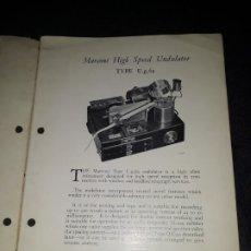 Radios Anciennes: MARCONI HIGH SPEED UNDULATOR TYPE & MORSE RECTIFIER. WIRELESS TELEGRAPH. Lote 177495895
