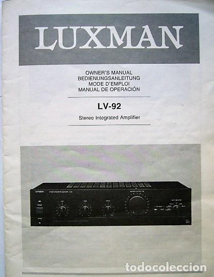 MANUAL INSTRUCCIONES AMPLIFICADOR LUXMAN LV-92 (Radios, Gramófonos, Grabadoras y Otros - Catálogos, Publicidad y Libros de Radio)