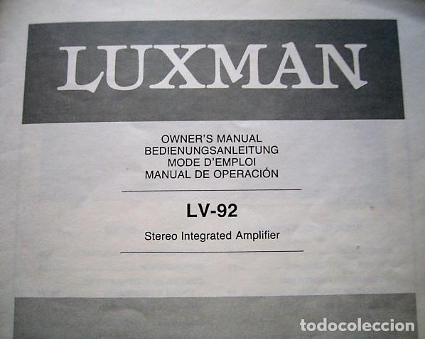 Radios antiguas: MANUAL INSTRUCCIONES AMPLIFICADOR LUXMAN LV-92 - Foto 2 - 177714645