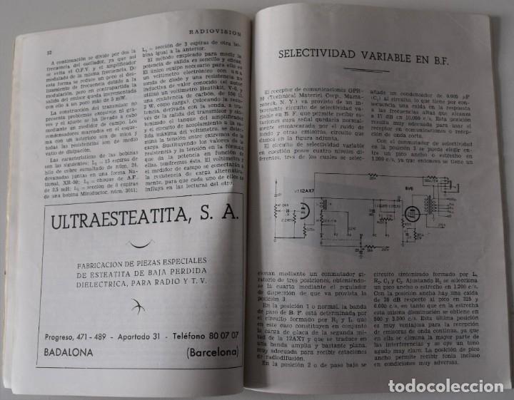 Radios antiguas: LOTE 8 NÚMEROS REVISTA RADIO VISIÓN AÑOS 50, REVISTA TÉCNICA MENSUAL - VER NÚMEROS - Foto 7 - 177752725