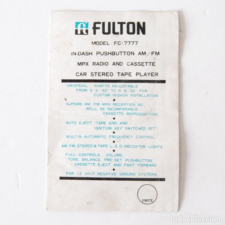 INSTRUCCIONES FULTON MODEL FC-7777 RADIO AND CASSETTE (Radios, Gramófonos, Grabadoras y Otros - Catálogos, Publicidad y Libros de Radio)