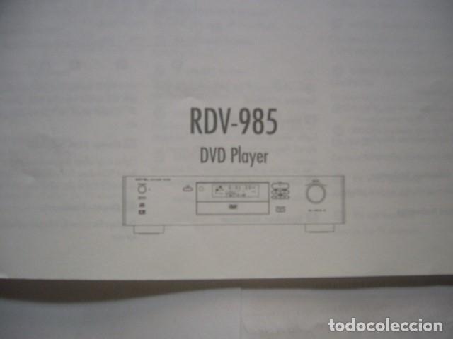 Radios antiguas: MANUAL INSTRUCCIONES DVD ROTEL RDV-985 - Foto 2 - 177963259