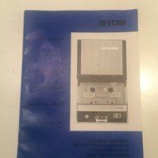 Radios antiguas: MANUAL INSTRUCCIONES MAGNETOFONO VINTAGE CASSETTE RECORDER MAGNETOFONO MODELO 9109. Lote 180462172
