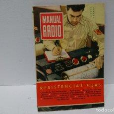Radios antiguas: 161-MANUAL RADIO. RESISTENCIAS FIJAS. Lote 205873895