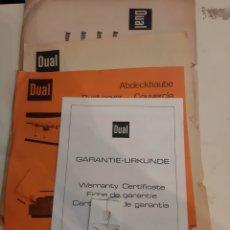 Radios antiguas: DUAL DOCUMENTOS TOCADISCOS GARANTIA INSTRUCCIONES. Lote 184756495