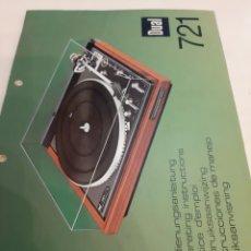 Radios antiguas: DUAL 721 TOCADISCOS MANUAL. Lote 184759853