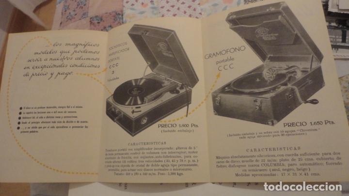 ANTIGUO FOLLETO PUBLICITARIO.TOCADISCOS GRAMOFONO CCC.SAN SEBASTIAN. AÑOS 50 (Radios, Gramófonos, Grabadoras y Otros - Catálogos, Publicidad y Libros de Radio)